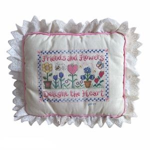 Other - Vintage Cross-stitch Needlepoint Decor Pillow
